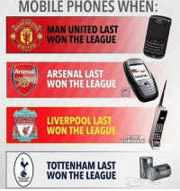 Arsenal, Memes, and Mobile: MOBILE PHONES WHEN:  CHEST  MAN UNITED LAST  WON THE LEAGUE  UNITED  Arsenall ARSENAL LAST  NOKIA  WON THE LEAGUE  ERPOOL LAST  WON THE LEAGUE  OOTBALLSciu  b.com/  TrollFootball  TOTTENHAM LAST  WON THE LEAGUE 😂😂 https://t.co/ywEC1Sj2B1
