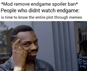 Memes, Time, and Watch: *Mod remove endgame spoiler ban*  People who didnt watch endgame:  is time to know the entire plot through memes  Peni  Mon Nice