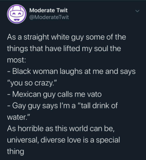 "Why bother about skin color: Moderate Twit  @ModerateTwit  As a straight white guy some of the  things that have lifted my soul the  most:  - Black woman laughs at me and says  ""you so crazy.""  - Mexican guy calls me vato  - Gay guy says I'm a ""tall drink of  water.""  As horrible as this world can be,  universal, diverse love is a special  thing Why bother about skin color"