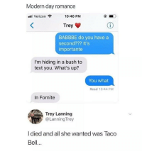Memes, Taco Bell, and Verizon: Modern day romance  Il Verizon  10:46 PM  Trey  BABBBE do you have a  second??? It's  importante  I'm hiding in a bush to  text you. What's up?  You what  Read 10:44 PM  In Fornite  Trey Lanning  @LanningTrey  I died and all she wanted was Taco  Bell.. i forgot how much i hate weather over 75 degrees