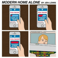 Home Alone, Memes, and Pizza: MODERN HOME ALONE BY JEN LEWIS  E V  E V  PIZZA TRACKER  PIZZA TRACKER  YOUR PIZZA  THANK YOU  FOR YOUR  IS BEING  ORDER O  PREPARE  SPECIAL NOTES:  SPECIAL NOTES:  NOCK AND LEAVE  KNOCK AND LEAVE  THE PIZZA OUTSIDEL  THE PIZZAOUTSIDE.  @THIS JENLEWIS BuzzFEED  PIZZA TRACKER  YOUR PIZZA  IS BEING  DELIVERE  SPECIAL NOTES:  NOCK AND LEAVE  THE PIZZA OUTSIDE.  A lovely cheese pizza,  just for me. Keep the change, ya filthy animal (From Jen Lewis: https://www.facebook.com/thisjenlewis)