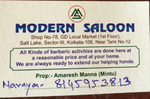 💇🏻♀️: MODERN SALOON  Shop No-78, GD Local Market (1st Floor),  Salt Lake, Sector-lI, Kolkata-106, Near Tank No-12  All Kinds of barbaric activities are done here at  a reasonable price and at your home.  We are always ready to extend our helping hands.  Prop:-Amaresh Manna (Mintu)  Navayaon 49313 💇🏻♀️