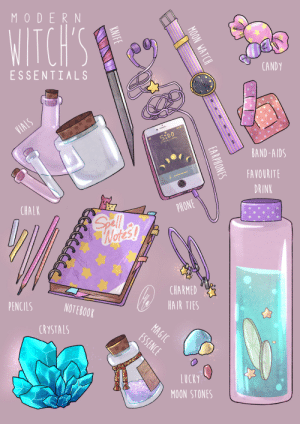 stellamaydrawings:  A fun prop illustration!I wanna do more in the future of different things! : MODERN  WITCH'S  CANDY  ESSENTIALS  VIALS  5:00  DAY 27 APRIL  BAND-AIDS  FAVOURITE  DRINK  PHONE  CHALK  Gll  Wetes!  CHARMED  HAIR TIES  PENCILS  NOTEBOOK  MAGIC  ESSENCE  CRYSTALS  LUCKY  MOON STONES  ON WATCH  0  oD  EARPHONES  KNIFE stellamaydrawings:  A fun prop illustration!I wanna do more in the future of different things!