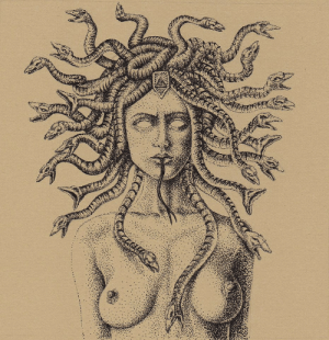 """moderneden: """"Medusa"""" by Ronnie Ray Mendez for #TheGrotesque 4.5 x 4.5 inches © 2014 Archival Ink on BFK Paper : moderneden: """"Medusa"""" by Ronnie Ray Mendez for #TheGrotesque 4.5 x 4.5 inches © 2014 Archival Ink on BFK Paper"""
