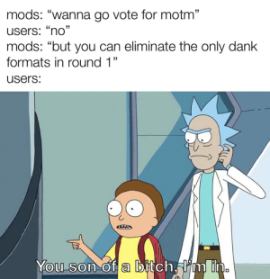 """""""YOU SON OF A BITCH, I'M IN"""" IS THE NOVEMBER MEME OF THE MONTH: mods: """"wanna go vote for motm""""  users: """"no""""  mods: """"but you can eliminate the only dank  formats in round 1""""  users:  You son of a bitch, I'm in. """"YOU SON OF A BITCH, I'M IN"""" IS THE NOVEMBER MEME OF THE MONTH"""
