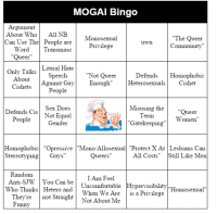 """Gatekeeping: MOGAI Bingo  Argument  About Who All NB  Can Use The People are  The Queer  Monosexual  Privilege  ommunitv  Word1Iransmasc  """"Queer  Only Talks Literal Hate  """"Not Queer  Defends Homophobic  HeterosexualsCishet  Speech  People  Sex Does  Gender  About  Cishets Against Gay Enough""""  Misusing theQueer  Defends Cis Not Equal  erm  People  Women  """"Gatekeeping  Homophobic""""Opressive """"Mono/Allosexual """"Protect X At Lesbians Can  StereotypingGays""""  Queers  All Costs Sll Like Men  Random  Anti-SJW You Can be Uncomfortable Hypervisibility""""Homosexual""""  I Am Feel  Who Thinks Hetero and  They're not StraightNot About Me  When We Are is a Privilege  unnv"""