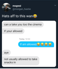 Tumblr, Blog, and Http: mogwal  @morgan hastie  Hats aff to this wan  can a take you too the cinema  If your allowed  Today 12:02  If am allow  aye  not usually allowed to take  snacks in arandomthot:  Going to have to remember that line