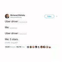 """Memes, Uber, and Stars: Mohanad Elshieky  @MohanadElshieky  Follow  Uber driver:  Me:  Uber driver:  Me: 5 stars.  3:18 PM-6 Aug 2017  130,083 Retweets 384,795 Likes  @。②a-h@ Θ ( how is there not a """"do not disturb"""" setting for when you order the uber?"""