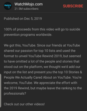 Madlad watch mojo: mojo WatchMojo.com  SUBSCRIBE  21.5M subscribers  Published on Dec 5, 2019  100% of proceeds from this video will go to suicide  prevention programs worldwide.  We got this, YouTube. Since our friends at YouTube  shared our passion for top 10 lists and used the  format to unveil YouTube Rewind 2019, but seemed  to have omitted a lot of the people and stories that  stood out on the platform, we thought we'd add our  input on the list and present you the top 10 Stories &  People We Actually Cared About on YouTube. You're  welcome, YouTube. We appreciate the effort with  the 2019 Rewind, but maybe leave the ranking to the  professionals?  Check out our other videos! Madlad watch mojo