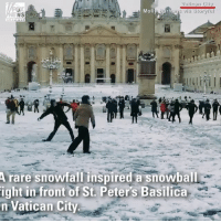 Memes, Snow, and Time: Moll  rare snowfallinspired a snowball  ight in front of St. Peters Basilica  n Vatican City A snowball fight broke out in front of St. Peter's Basilica in Vatican City, as snow fell in the area for the first time since 2012.