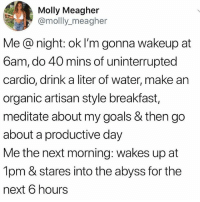🤣Tag a friend: Molly Meagher  @mollly_meagher  Me @ night: ok I'm gonna wakeup at  6am, do 40 mins of uninterrupted  cardio, drink a liter of water, make an  organic artisan style breakfast,  meditate about my goals & then go  about a productive day  Me the next morning: wakes up at  1pm & stares into the abyss for the  next 6 hours 🤣Tag a friend