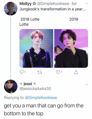 : Mollyy@DimpleKookieee 6d  Jungkook's transformation in a year...  2018 Lotte  2019  Lotte  jessi  @jessickaAaAa30  Replying to @DimpleKookieee  get you a man that can go from the  bottom to the top