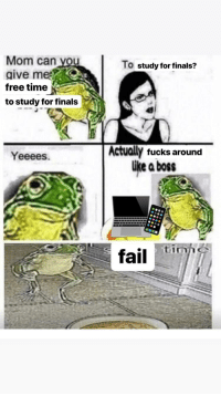 Fail, Finals, and Free: Mom can vou  aive mee  free timej  to study for finals  To study for finals?  Actually fucks around  ike a boss  Yeeees.  fail tiz anyone else?