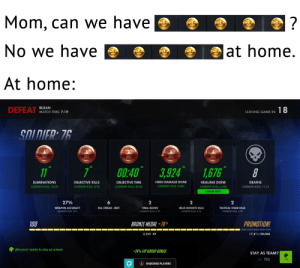We have Goldwash at home!: Mom, can we have  ?  No we have  |at home.  At home:  BUSAN  DEFEAT  18  MATCH TIME: 7:19  LEAVING GAME IN:  SOLDIER: 76  00:40 3,924  1,676  11  ELIMINATIONS  OBJECTIVE KILLS  OBJECTIVE TIME  HERO DAMAGE DONE  HEALING DONE  DEATHS  CAREER AVG: 5,467  CAREER AVG: 15.33  CAREER AVG: 9.75  CAREER AVG: 00:55  CAREER AVG: 2,335  CAREER AVG: 11.15  CAREER BEST  27%  6  2  2  2  HELIX ROCKETS KILLS  CAREER AVG: 2.79  WEAPON ACCURACY  KILL STREAK BEST  FINAL BLOWS  TACTICAL VISOR KILLS  CAREER AVG: 2.79  CAREER AVG: 27 %  CAREER AVG: 2.79  100  PROMOTION!  BRONZE MEDAL +70XP  2,359 XP  17,411/20,000  jillmunro1 wants to stay as a team  +20% EXP (GROUP BONUS)  STAY AS TEAM?  RB YES  R ENDORSE PLAYERS We have Goldwash at home!