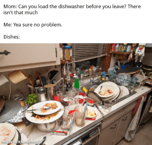 Mom, Can, and You: Mom: Can you load the dishwasher before you leave? There  isn't that much  Me: Yea sure no problem.  Dishes:  made with mematic Happens everytime