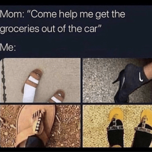 "Meme, Help, and Relatable: Mom: ""Come help me get the  groceries out of the car"" The most relatable meme out there"