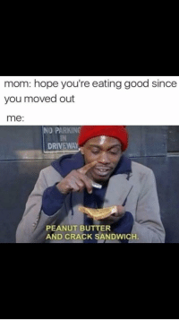 "Tumblr, Blog, and Good: mom: hope you're eating good since  you moved out  me:  NO PARKING  IN  DRIVEWAY  PEANUT BUTTER  AND CRACK SANDWICH <p><a href=""http://memehumor.net/post/165997868173"" class=""tumblr_blog"">memehumor</a>:</p>  <blockquote><p>.</p></blockquote>"