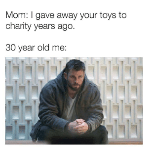 charity: Mom: I gave away your toys to  charity years ago.  30 year old me: