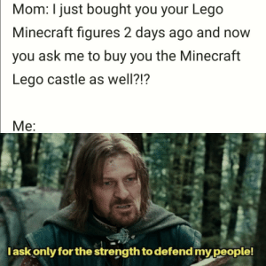 Gotta stay safe from spooky skeletons: Mom: I just bought you your Lego  Minecraft figures 2 days ago and now  you ask me to buy you the Minecraft  Lego castle as well?!?  Ме:  lask only for the strength to defend mypeople! Gotta stay safe from spooky skeletons