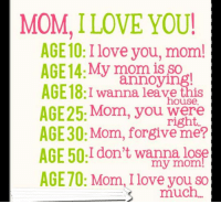 ❤️❤️  #amber: MOM I LOVE YOU!  AGE10: I love you, mom!  AGE 14: My annoying!  AGE 18: I wanna leave this  house  AGE25: Mom, you were  AGE30: Mom, forgive me?  AGE 50:I don't wanna lose  my mom  AGE70: Mom, love you so  much. ❤️❤️  #amber