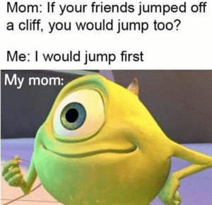 Bad, Friends, and Reddit: Mom: If your friends jumped off  a cliff, you would jump too?  Me: I would jump first  My mom: yeah mom i am the bad influence
