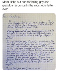 Yo, Grandpa, and The Real: Mom kicks out son for being gay and  grandpa responds in the most epic letter  ever  istine:  but r istaken about what ths.  /s  t any mwre than he boing LA Mande Yo haveve  and bachuard So,hrle we are n the bestness cF  e to gor. now have a  abulees (as the goay p  oloes las the yeirnesen orais  cous  yo hrd por ha, give us a cah Grandpa is the real MVP in this story