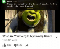 Bluetooth, Mom, and Speaker: Mom now  Please disconnect from the Bluetooth speaker. And we  need to talk, come downstairs.  What Are You Doing In My Swamp Remix -  1,342,131 views  15K 1396
