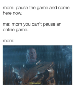 they'll never get it: mom: pause the game and come  here now.  me: mom you can't pause an  online game  mom:  Impossible. they'll never get it