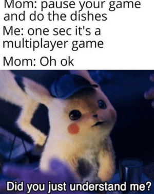 Game, Mom, and Sec: Mom: pause your game  and do the díshes  Me: one sec it's a  multiplayer game  Mom: Oh ok  Did you just understand me? Impossible