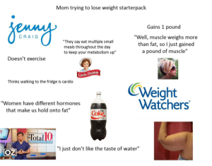 """Starter Packs, Exercise, and Water: Mom trying to lose weight starterpack  Gains 1 pound  Well, muscle weighs more  than fat, so l just gained  a pound of muscle'""""  CRA IG  to keep your metabolism up""""  Doesn't exercise  Little Debbie  Thinks walking to the fridge is cardio  Weight  """"Women have different hormones  that make us hold onto fat""""  Coke  Dit  ota  RAPID WEIGHT LOSS PLAN  """"l just don't like the taste of water"""" Mom trying to lose weight starterpack"""