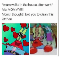 Memes, Work, and House: *mom walks in the house after work*  Me: MOMMY!!!!  Mom: I thought I told you to clean this  kitchen  C2  Tale *runs to room*