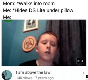 Above the Law, Mom, and Law: Mom: *Walks into room  Me: *Hides DS Lite under pillow  Me:  3:34  l am above the law  14K views 7 years ago don't take my DS too Karen ☹️