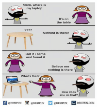 Be Like, Meme, and Memes: Mom, where is  my laptop  It's on  the table  2229  Nothing is there!  But if i came  and found it  Believe me  nothing is there  What's that?  How does  she do that?  fDESIFUNDESIFUNDESIDESIFUN.COM  @DESIFUN DESIFUN.COM Twitter: BLB247 Snapchat : BELIKEBRO.COM belikebro sarcasm meme Follow @be.like.bro