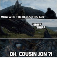 Jon Snow, Snow, and Mom: MOM WHO THE HELL'S THIS GUY  SNIFF  SNIFF  OH, COUSIN JON 7 When Drogon met Jon Snow 😂 #GameOfThrones https://t.co/gkmPdJlobx