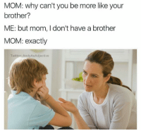 Memes, Moms, and Snapchat: MOM: Why can't you be more like your  brother?  ME: but mom, I don't have a brother  MOM: exactly  Twitter: AndyASA djective Snapchat: Dankmemesgang 🔥