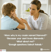 "Arguing, Logic, and Memes: ""Mom why is my cousin named Diamond?""  ""Because your aunt loves diamonds.""  ""What about me?""  Enough questions Galouti Kebab.""  OmNomNom  onninsta Repost from @onninsta Can't argue with that logic. omnomnom onninsta"
