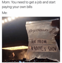 Memes, Yeezy, and 🤖: Mom: You need to get a job and start  paying your own bills  Me  AIR FROM  KANYE'S SHON @chillblinton If I breathe in the air will yeezys automatically just appear on my feet?