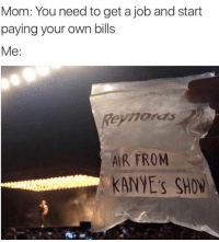 Memes, 🤖, and Job: Mom: You need to get a job and start  paying your own bills  Me  Remo as  AIR FROM  KANYE'S SHOW Twitter- dankmemesgang IG- @chillblinton