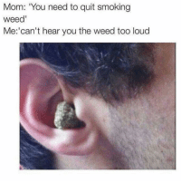 """Memes, Smoking, and Quite: Mom: """"You need to quit smoking  weed'  Me: can't hear you the weed too loud"""