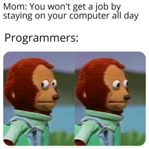 The future is now mom: Mom: You won't get a job by  staying on your computer all day  Programmers: The future is now mom