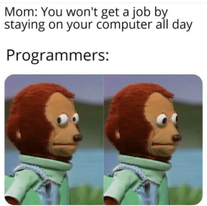 Very poor choice of words mom: Mom: You won't get a job by  staying on your computer all day  Programmers: Very poor choice of words mom