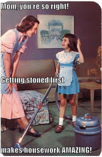 Housework, Amazing, and Mom: Mom, you're so right!  Getting stoned firSt  nakes housework AMAZING!