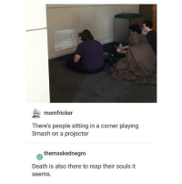 Memes, Smashing, and Death: momfricker  There's people sitting in a corner playing  Smash on a projector  themaskednegro  Death is also there to reap their souls it  seems. see if I were Death I'd actually do this and get disctracted by he MOVEMENT AND COLORS™ - Max textpost textposts