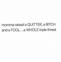 Bitch, Triple, and Momma: momma raised a QUITTER, a BITCH  and a FOOL..a WHOLE triple threat i cackled