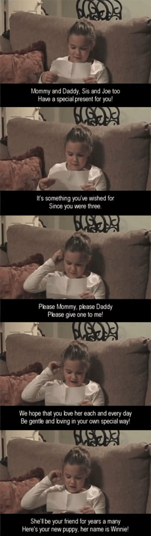 lolzandtrollz:  The Cutest Gift: Mommy and Daddy, Sis and Joe too  Have a special present for you!  It's something you've wished for  Since you were three.  Please Mommy, please Daddy  Please give one to me!  We hope that you bve her each and every day  Be gentle and boving in your own special way!  She'll be your friend for years a many  Here's your new puppy, her name is Winnie! lolzandtrollz:  The Cutest Gift