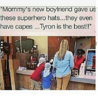 """💀 praisesteezy @80hoe: """"Mommy's new boyfriend gave us  these superhero hats...they even  have capes ...Tyron is the best!!"""" 💀 praisesteezy @80hoe"""
