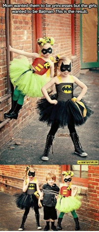 srsfunny:  The Princesses Of Justice: Momwanted them to be princesses but the girls  wanted to be Batman.lhis isthe result  ть  VIA THEMETAPICTURE.COM srsfunny:  The Princesses Of Justice