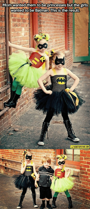srsfunny:The Princesses Of Justice: Momwanted them to be princesses but the girls  wanted to be Batman.lhis isthe result  ть  VIA THEMETAPICTURE.COM srsfunny:The Princesses Of Justice