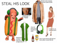 Memes, Beats, and Dress: Moncler water resistant  long down jacket $1,095  STEAL HIS LOOK  Orange spray tan  1,000,000  small loan  Gray and  green beats  headphones  $436  Scoop neck rib  tank dress $12  tank dress $112  Michael Kor  cashmere  open front  cardigan $245  Heinz tomato ketchup ($2.34) and  Heinz yellow mustard ($2.34) Steal his look guys 😩🔥(follow @stinkielizard for more😅)