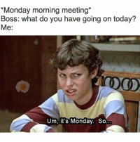 *Monday morning meeting  Boss: what do you have going on today?  Me  Um, it's Monday. So Mondays are for memes, I thought everyone knew that. Monday morning meme funny lmao lol hilarious instagood workflow funniestplace